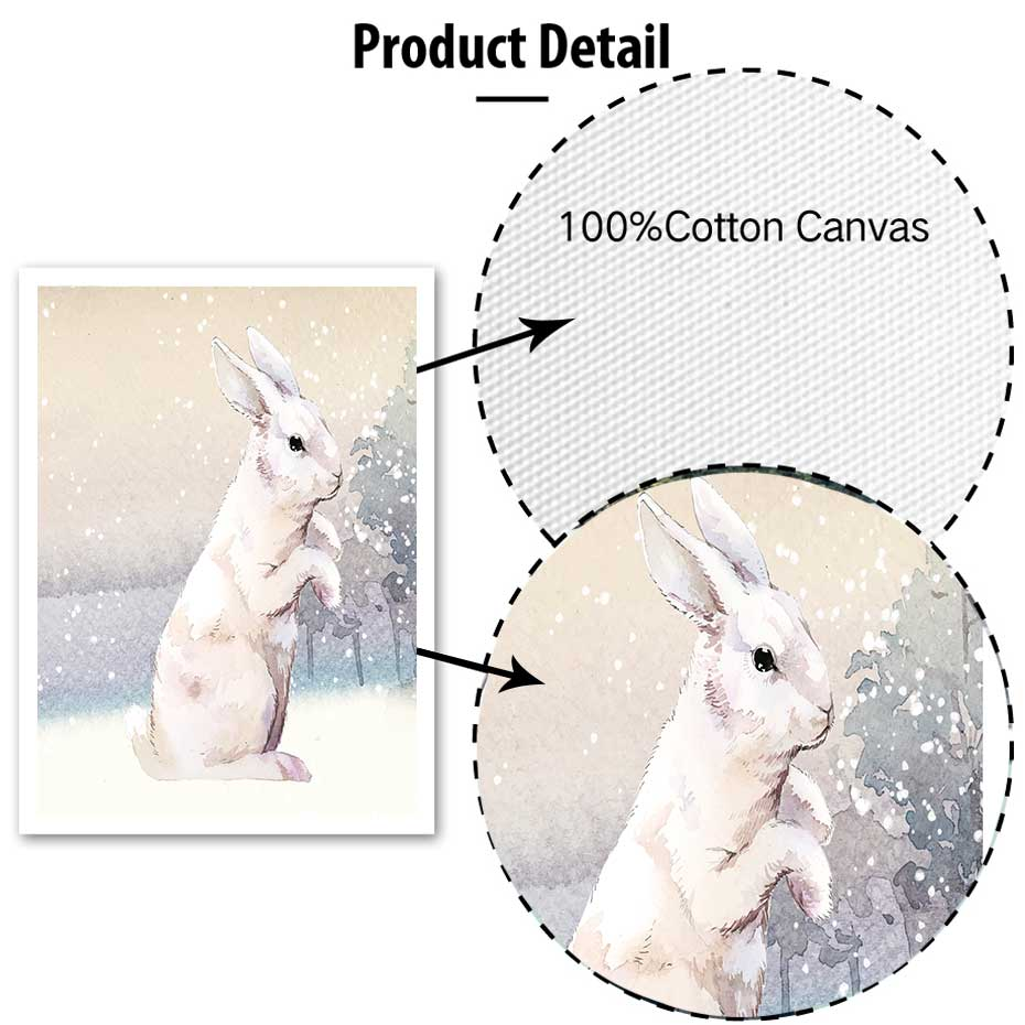 Image 5 - Modern Snowfield Cartoon Animals Prints Posters Wall Art Rabbits Polar Bears Canvas Painting For Kids Nursery Bedroom Home Decor-in Painting & Calligraphy from Home & Garden