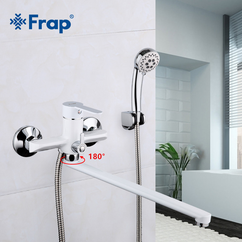 Frap 1 Set 35cm White Outlet Pipe Bath Shower Faucet Brass Body Surface Spray Painting Shower Head Bathroom Tap F2241 цена