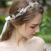 Fashion Leaves Silver Bridal Hair Accessories Handmade Crystal Hair Jewelry Wedding Accessories Headband Women Headpiece