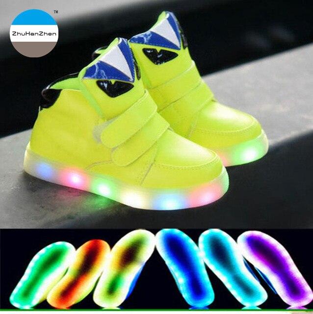 4267352d 2018 1 a 5 años de edad los niños botas cortas de alta calidad LED Zapatos