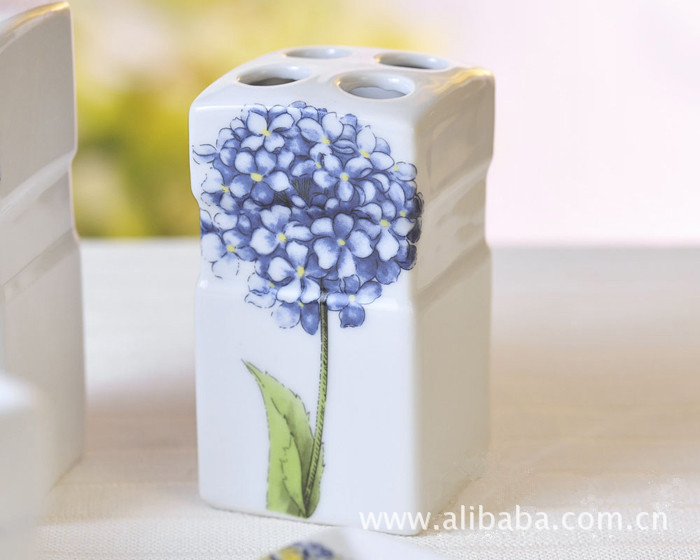Five Piece Blue Hydrangea Pattern Ceramic Bathroom Set Amenities Toothbrush Holder Soap Dispenser Toiletries In Accessories Sets From Home