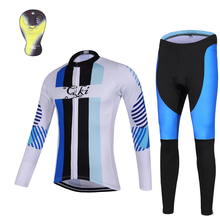 QKI Strip Women Winter Cycling clothing Thermal fleece Long Sleeves Cycling Jersey and Cycling Long Pants a Set Maillot+Culote