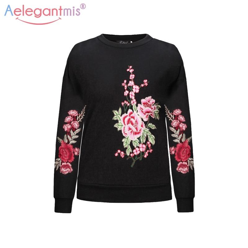 Aelegantmis vintage floral embroidery sweatshirts women