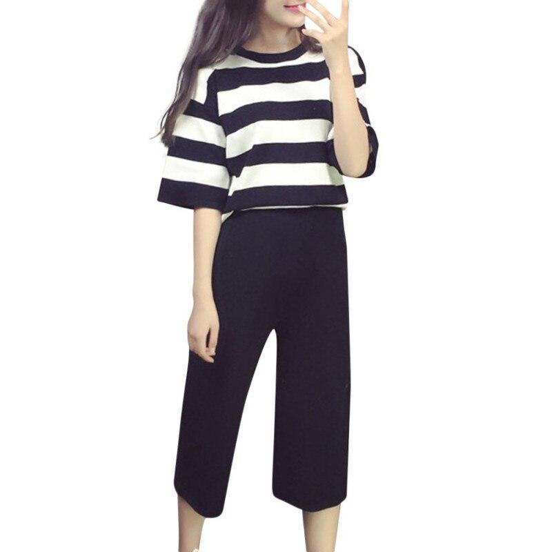 ba8b08db7d0 Tracksuit Autumn Women s Suit Striped 0-Neck Sweatshirt + Solid Casual Calf- length Pant