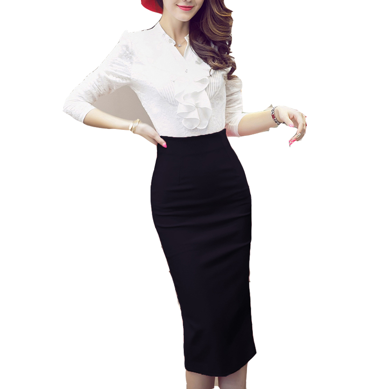 Online Shop High Waist Black Red Long Pencil Skirt Office Ladies ...
