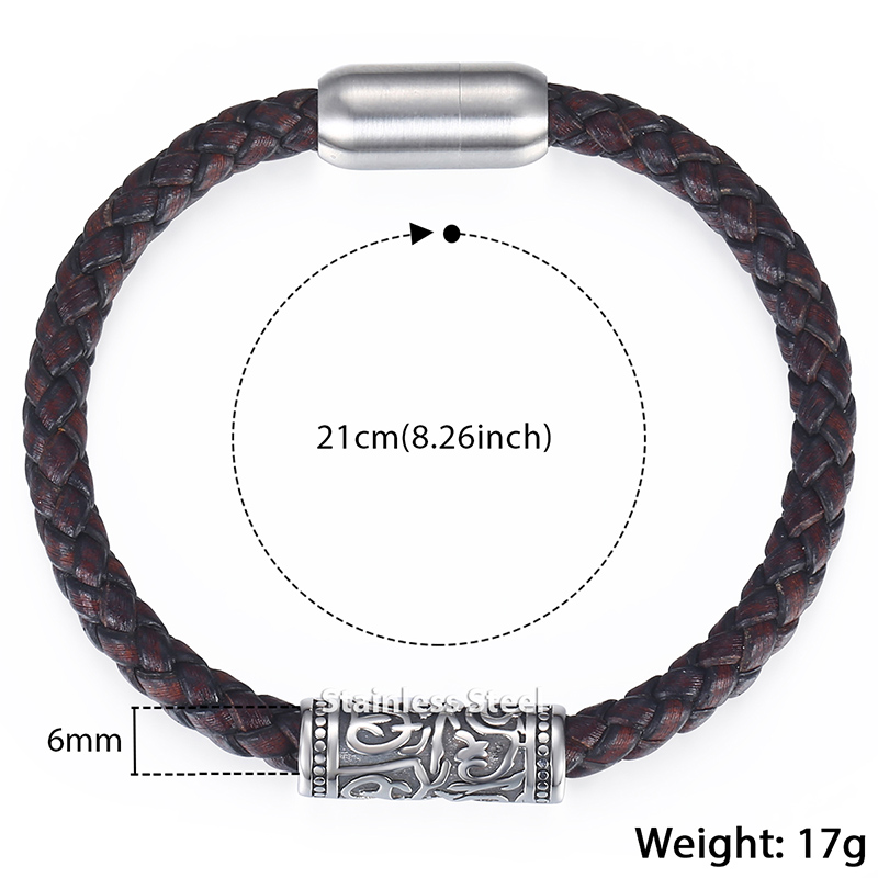 Genuine Leather Bracelets For Men Brown Mens Leather Bracelet 2018 Male Jewelry Wholesale Stainless Steel Magnetic Clasp KDLB103