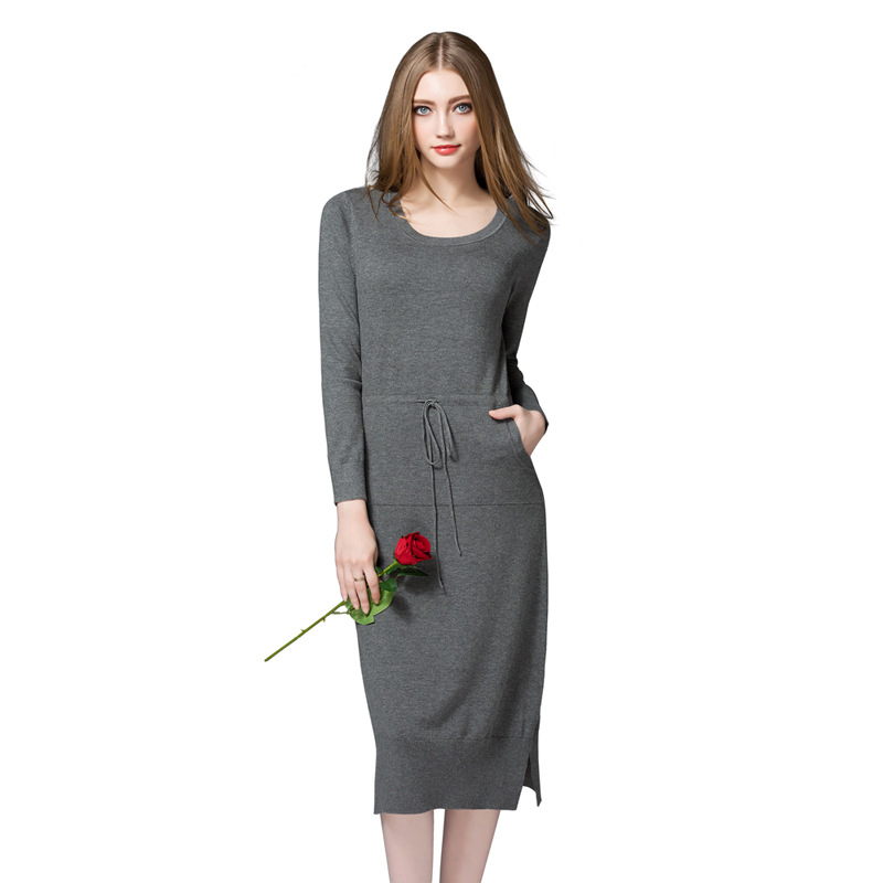 2018 New Spring Designer Fashion Women Sweater Dresses Solid Wine Red Casual O-Neck Long Sleeve Pencil Womens Sweaters Dress