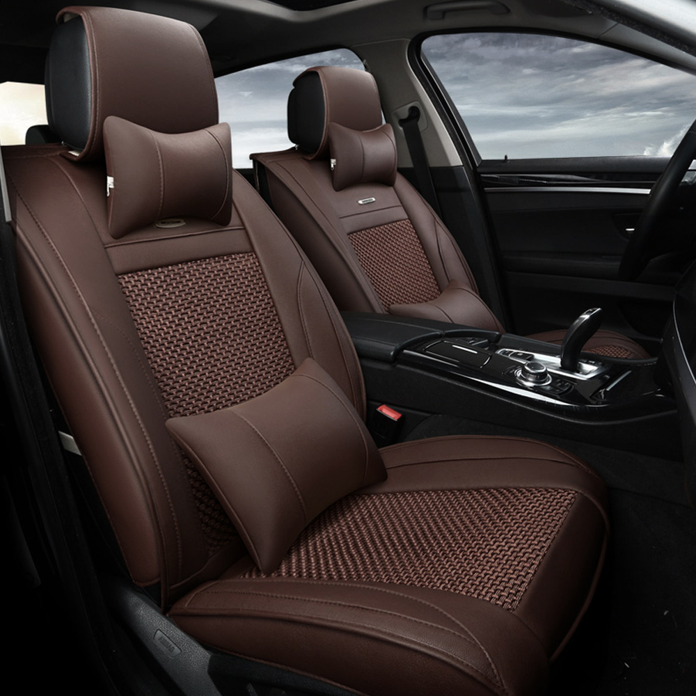 13pcs ventilate ice silk fabric car seat cover luxury leather automobiles seat covers car. Black Bedroom Furniture Sets. Home Design Ideas