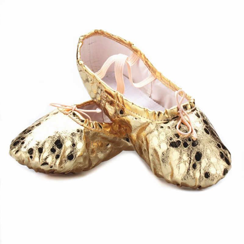 USHINE professional silver golden PU yoga belly dance รองเท้า soft sole ยิมบัลเล่ต์เต้นรำรองเท้าเด็กหญิง