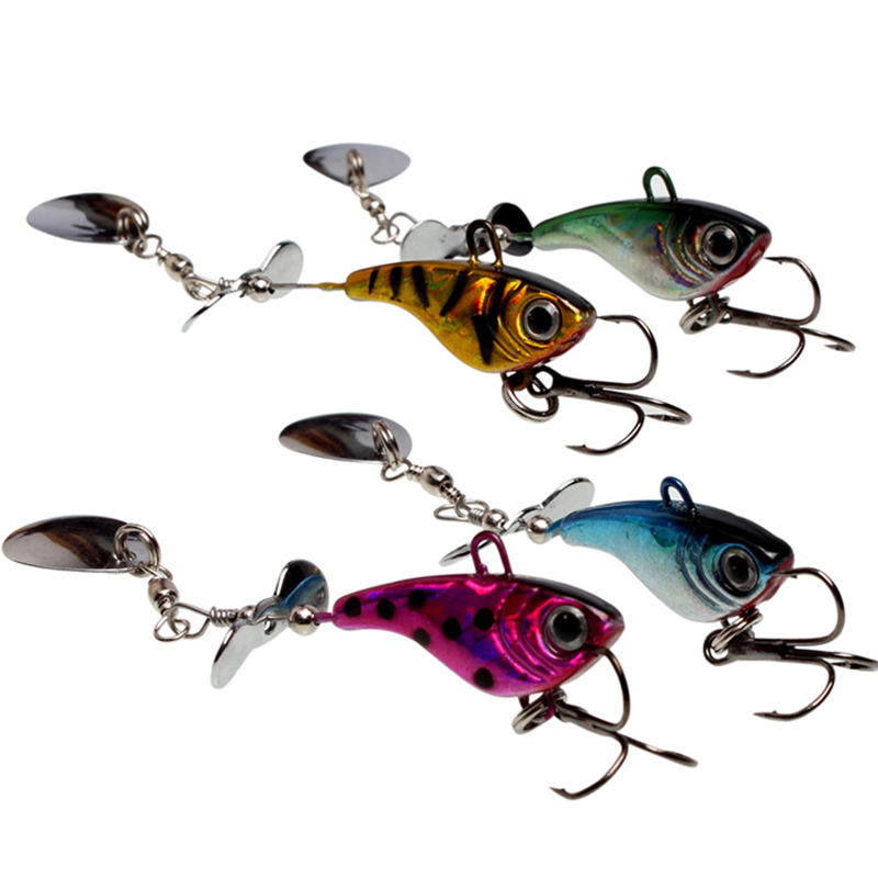 1Pcs 10cm 12g Crank Hard Fishing Lures Artificial Rotate the sequins Bait hard lure Pesca Fishing Tackle WQ8066 30pcs set fishing lure kit hard spoon metal frog minnow jig head fishing artificial baits tackle accessories