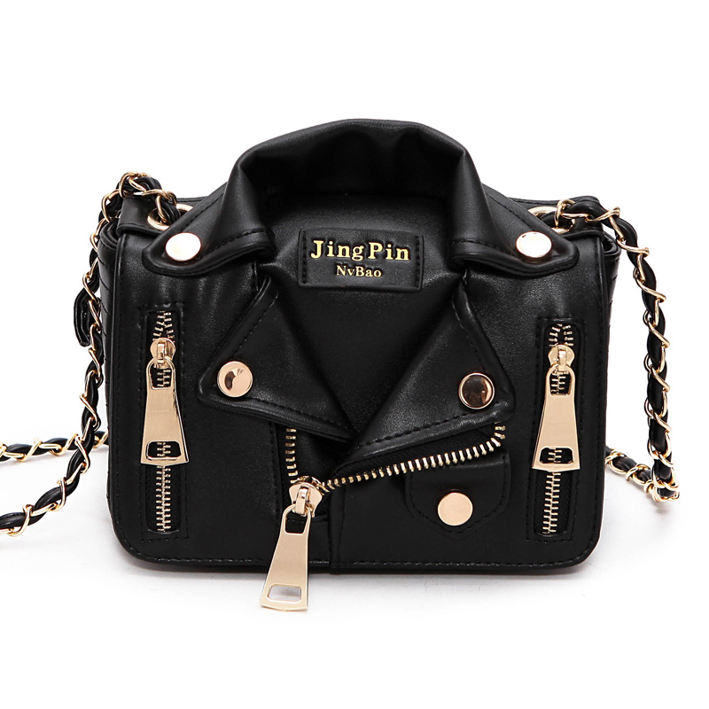 New Designer Women Jacket Clothes Handbag Black Sliver Jackets Shaped Punk Motobike Silver Women Shoulder Bag Mini Crossbody Bag