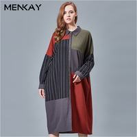 MENKAY Spring Large Size Women Europe United States Personality Loose Big Swing Stripes Patchwork Buttons