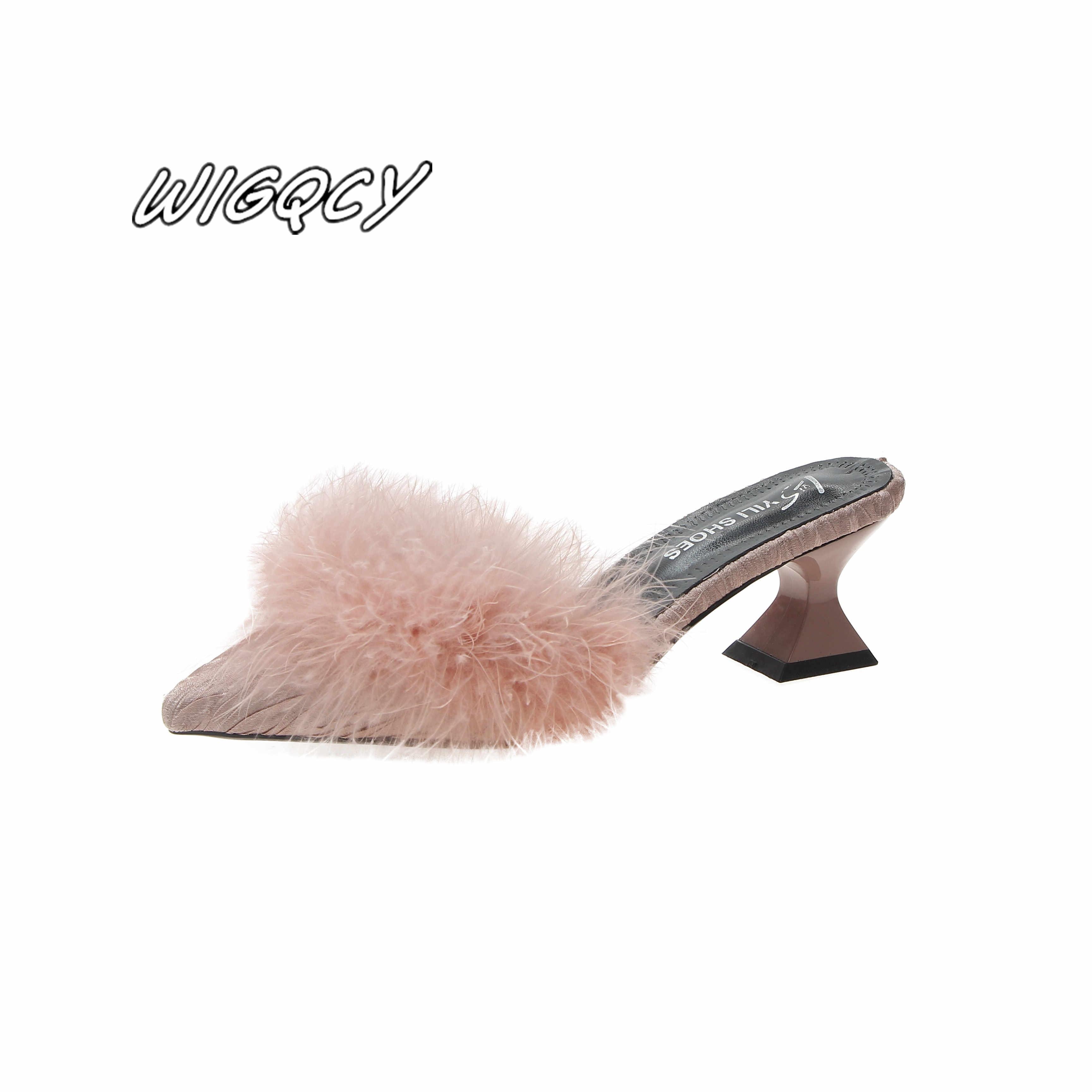2019 新女性のセットつま先型非スリップハイヒールファッションゴム底弾性布夏浅い毛皮の靴