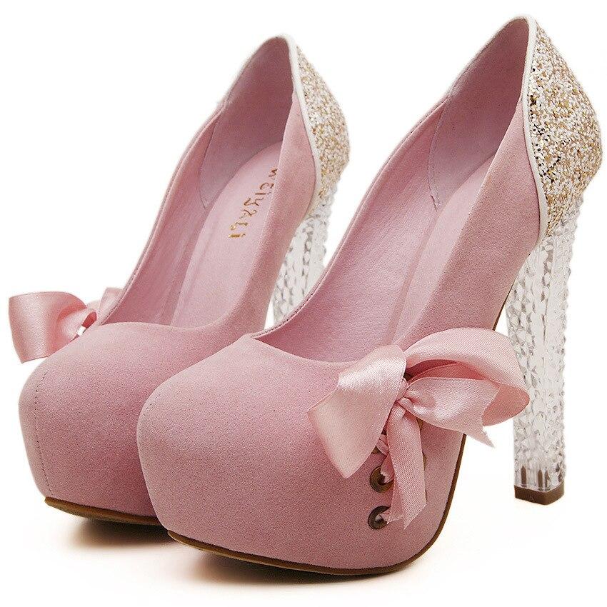 ФОТО 2017 Summer Fashion Sexy Girl Pink Riband Bowknot Crystal paillette Platform High Heels Women Sandals Woman Wedding Shoes