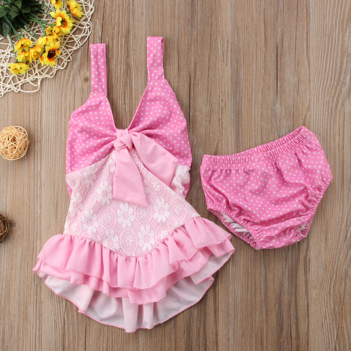 Infant Toddle Baby Girls Lace Tutu Ruch Bikini Swimsuit Swimwear Beachwear Bathing Suit Summer Clothes Outfits Girl 0-18M