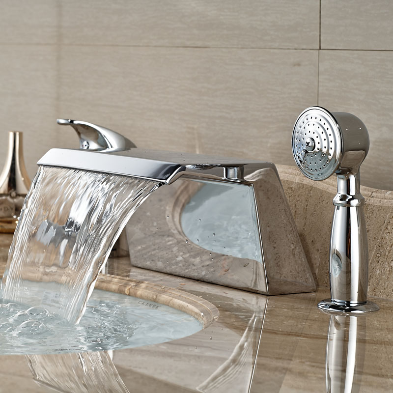Polished Chrome Bath Mixer with Shower Single Handle Waterfall Spout Bathroom Tub Faucet Deck Mounted sitemap xml page 7
