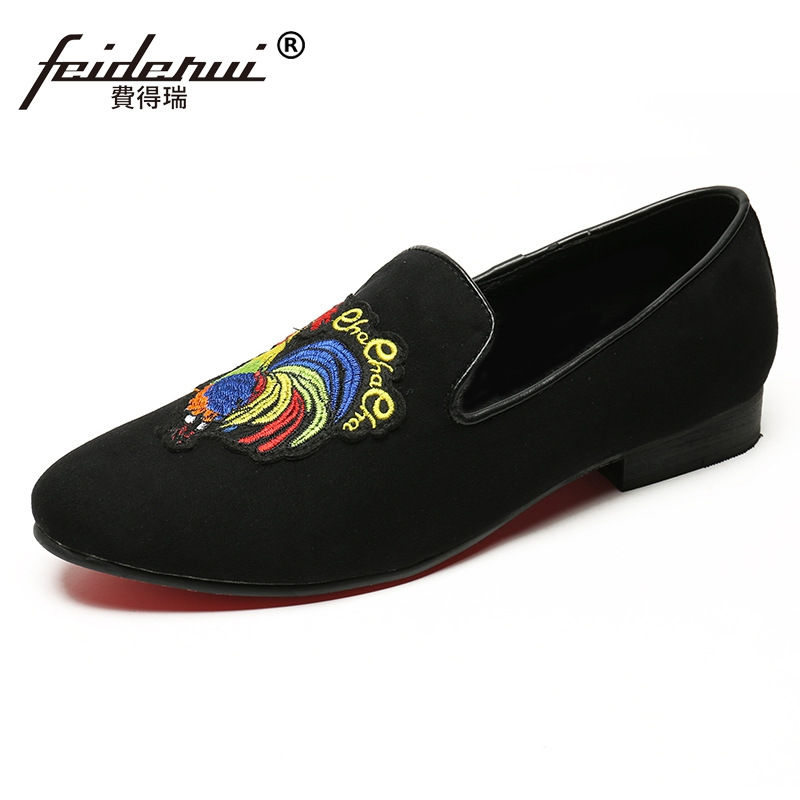 Plus Size Black Round Toe Slip on Man Wedding Party Moccasin Loafers Cow Suede Leather Red Bottom Men's Casual Shoes SL148 round toe suede slip on plimsolls