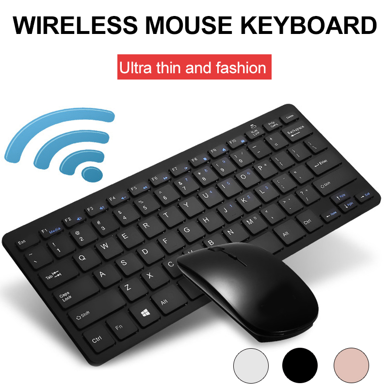 amzdeal Universal 2.4GHz Ultra-Thin Wireless Keyboard and Mouse Set Durable Aluminum alloy Full Size Gaming