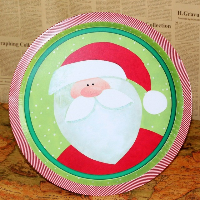 Free Shipping! 2pcs/lot Santa Clause Design Metal Christmas Plate Creative Table Decoration Plate Home Decor Christmas Gift