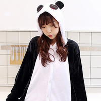 Panda Cartoon Animals Unisex Pajamas Long Sleeve Hooded All In One Warm And Soft Flannel For