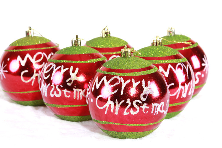 6 stücke 10 cm Mischfarbe Weihnachtskugeln Für Christbaumschmuck Dekoration  Liefert Behänge Englisch Zitat Frohe Weihnachten in 6 stücke 10 cm  Mischfarbe ...