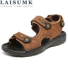 LAISUMK Hot Sale New Fashion Summer Leisure Beach Men Shoes High Quality Leather Sandals The Big Yards Men's Sandals Size 38-44 все цены