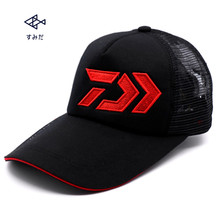 Daiwa Summer Male Men Fishing Caps Sunshade Sun protection Black/Blue Breathable Mesh Cap Outdoor Sports Adjustable Hat