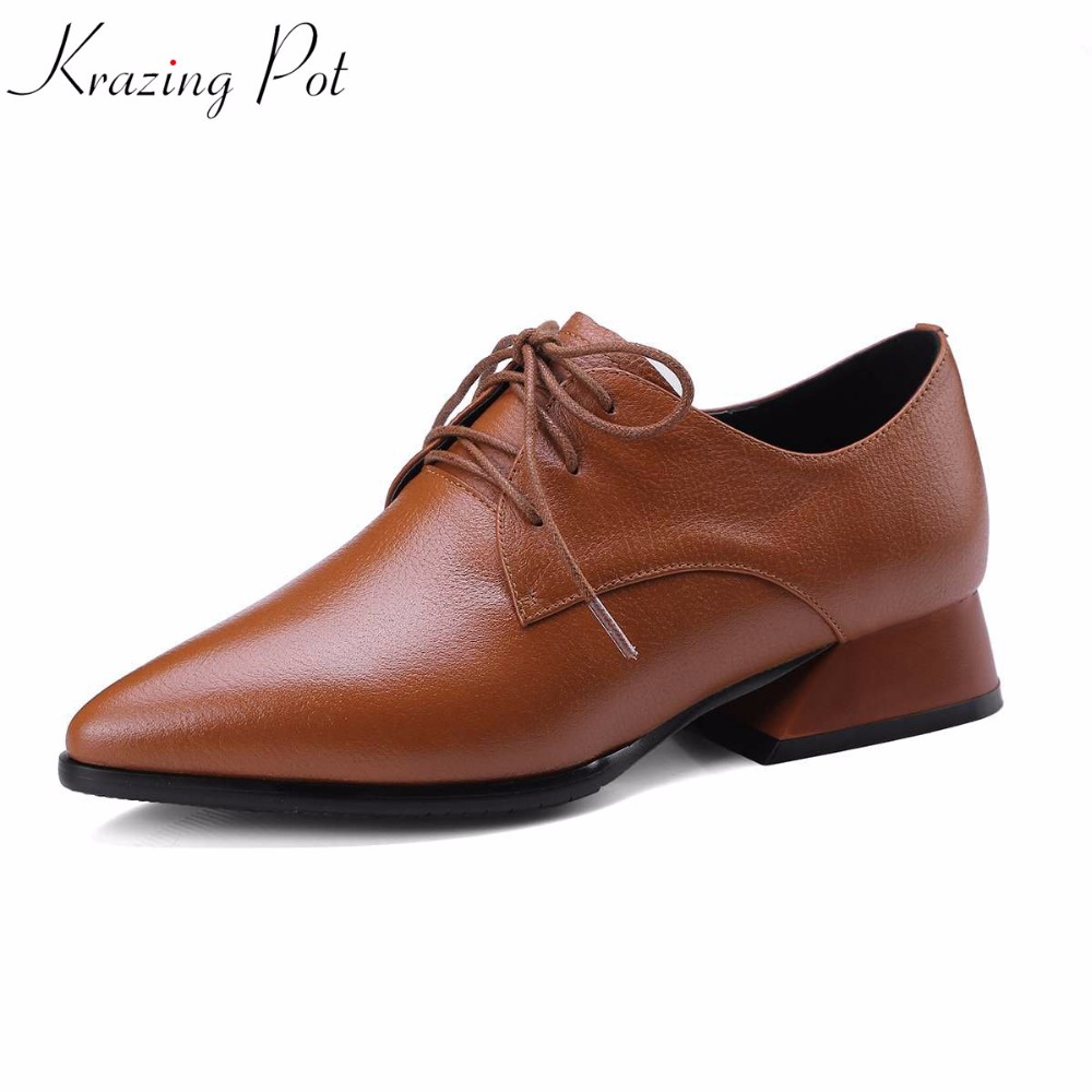 Krazing pot genuine leather European style gladitor fashion brand shoes pointed toe square med heel women pumps high quality L55 krazing pot fashion brand shoes genuine leather slip on european style square toe preppy style tassel med heels women pumps l12