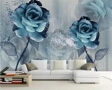 Beibehang Custom wallpaper watercolor blue beautiful flower sofa TV background wall living room bedroom 3d wallpaper decoration цена 2017