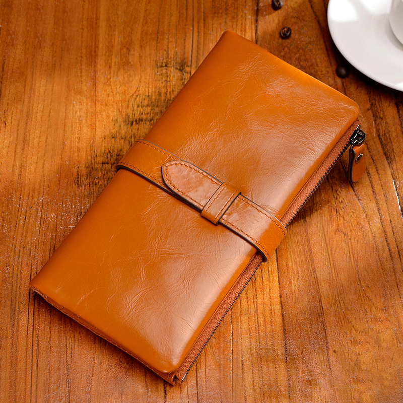 купить Tiffanys Original Design Long Drawstring Buckle Wallet Cowhide New Leather Fashion Vintage Large Wallet недорого