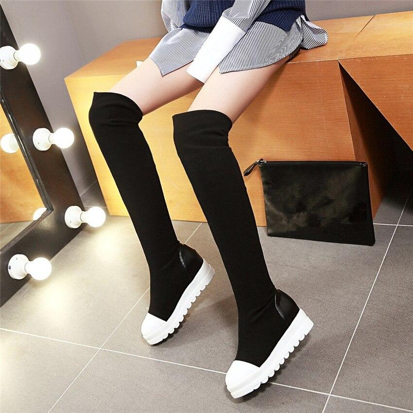 Демисезонные ботинки на платформе увеличивающие рост женские сапоги выше колена женские ботфорты выше колена большие размеры 34-40 41 42 43