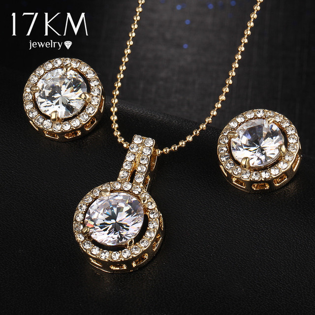 17KM Elegant Fashion Jewelry Sets Silver Color Crystal Earrings Necklace Set For Women Wedding Statement Party Jewelry