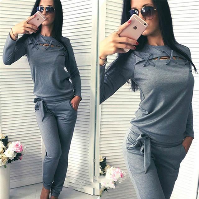 48ffb3a91d61 placeholder Conjuntos deportivos para mujer 2 piezas sudaderas con capucha  de vendaje + Pantalones de chándal para