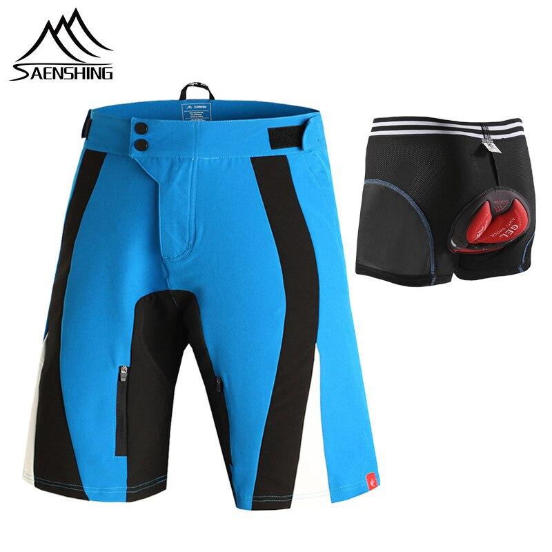 3b8d5c0614 SAENSHING pantalones cortos de ciclismo hombres abajo Mtb pantalones cortos  + ciclismo ropa interior Gel Pad bicicleta cortos de bicicleta de montaña  de las ...