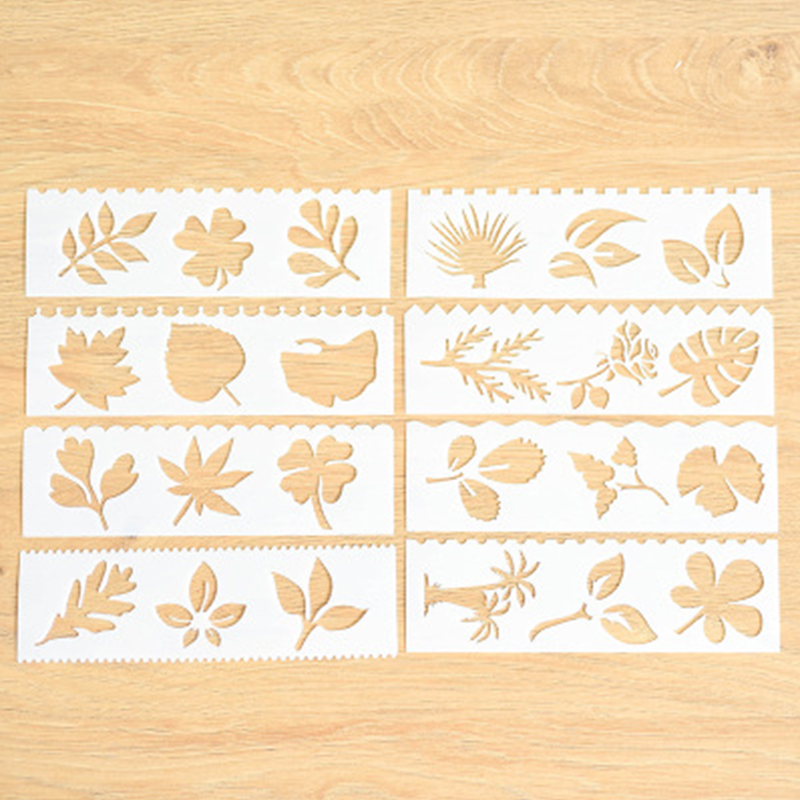 Home 8pc Child Painting Stencil Leaves Openwork Diy Scrapbooking Album Decorative Bullet Journal Template Drawing Stencils Decor