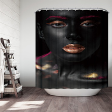 3D Colorful Oil Girl Shower Curtains Portrait Pattern Waterproof Mildew Proof Thickened Bath for Bathroom