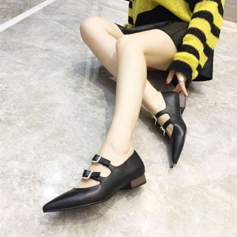 New arrival 2019 spring and summer buckle strap women shoes pointed toe genuine leather crystal low