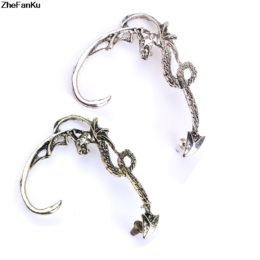 US $0.57 |1 PC Fashion aros metal earrings for women Rock Punk Dragon stud  earrings South Korea gecko earrings party jewelry-in Stud Earrings from ...