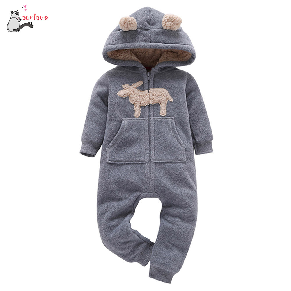 2017 baby boy winter clothes warm Infant Baby Boys Girl Thicker Print Hooded fleece Romper Jumpsuit Outfit Kid gray soft Clothes
