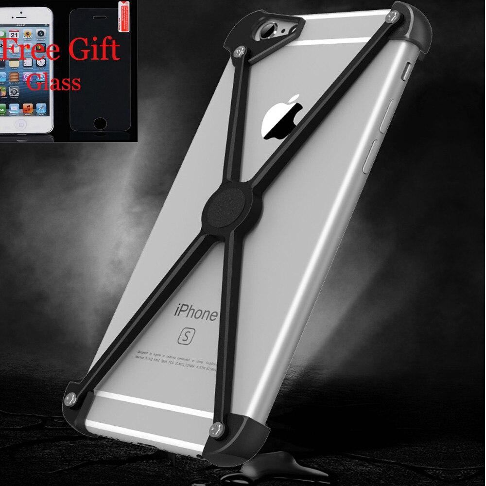 Цена за Для iPhone 7 7 Plus Телефон Бампер Для iPhone 6 6 s plus металла Алюминиевого Сплава Bumper5S Frame Case Fundas С Бесплатно Закаленное Стекло