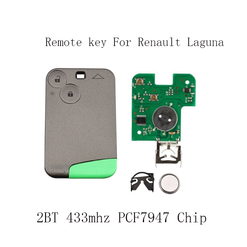 2 Buttons Smart Remote Key PCF7947 Chip 433Mhz suit for Renault Laguna Espace 2001-2006 Smart Card Remote Fob Car Styling
