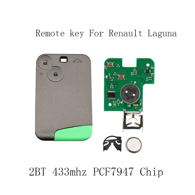 2 botones remoto inteligente clave PCF7947 Chip 433 MHz para Renault Laguna Espace 2001-2006 Smart Card remoto fob Car Styling