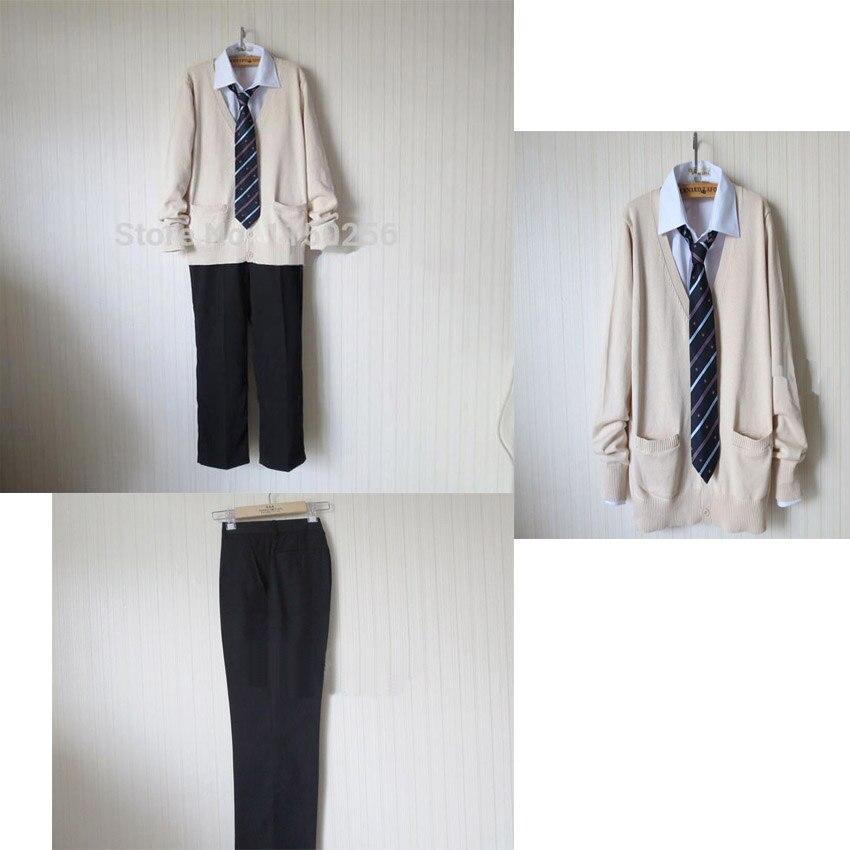 Japanese Anime School Boy Cosplay Costume Uniform Shirt Tie Pants Knitted font b Sweater b font