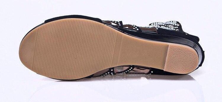 Peep Negro Cuero Planos 2017 Las Flores Imitación Mujer Gladiador Diamantes Zapatos Moda Sandalias Toe Verano Mujeres Romano Gamuza Ocasionales De Pisos pRF6BnfwqU