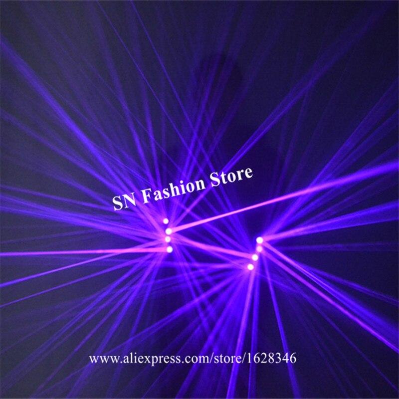 SJ78 Purple blue laser gloves party club robot man wears dj laser projector 4pcs laser heads led costumes dance gloves lighted