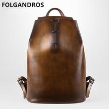 Men's Handmade Patina Calfskin Backpack Male Luxury Brand Pr