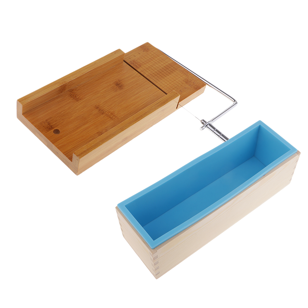 1.2KG Silicone Soap Making Loaf Mould Silicone With Wooden Box + Soap Cutter With Beveler And Wire Slicer