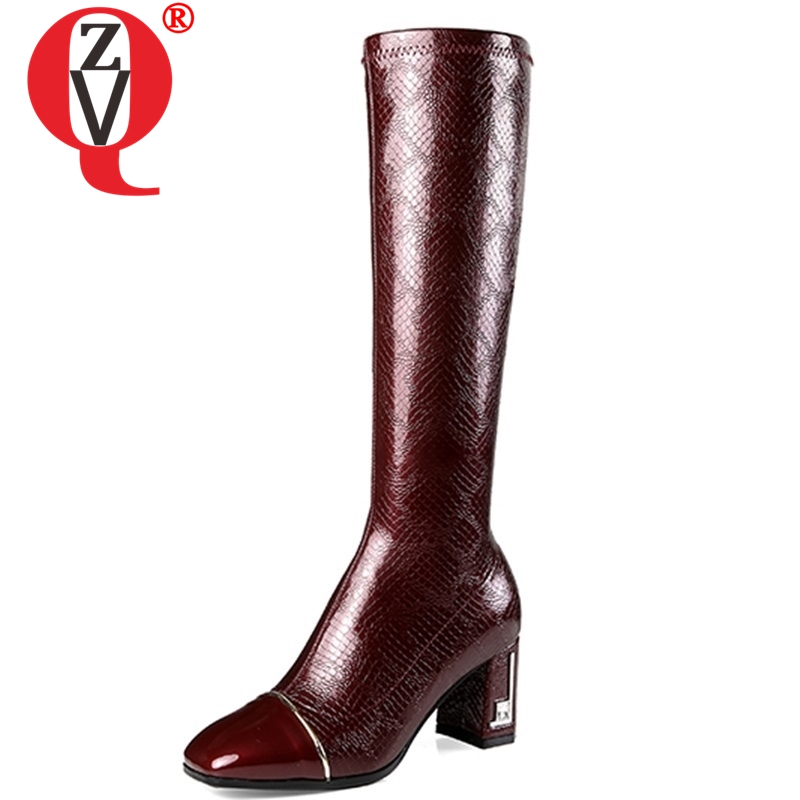 ZVQ 2018 new fashion sexy patent leather women shoes high strange style square toe zip crystal winter warm party knee high bootsZVQ 2018 new fashion sexy patent leather women shoes high strange style square toe zip crystal winter warm party knee high boots