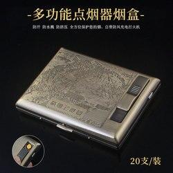 Zapalniczki i akcesoria do palenia  brązowa wielofunkcyjna papierośnica  zapalniczka na USB.