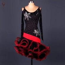 2016 Latin Dance Dress Women Roupa De Ginastica Salsa Dance Costumes Black Ballroom Dresses Dance Girls Dress  Rumba Samba